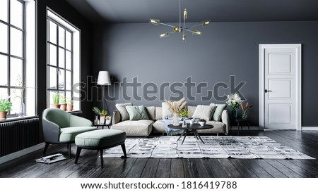 Modern interior design, in a spacious room, next to a table with flowers against a gray wall.
