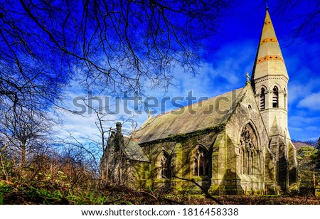 Old stone church view. Abandoned church. Old haunted church. Rural church #1816458338