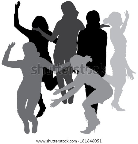 Vector silhouette of a woman who dances on a white background.  #181646051