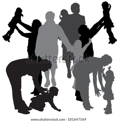 Vector silhouette of a family on a white background. #181647569