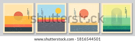 Vector illustration. Bauhaus. Mid century modern graphic. 70s retro funky graphic. Grunge texture. Minimalist landscape set. Abstract shapes. Design elements for social media, blog post, banner, card Royalty-Free Stock Photo #1816544501