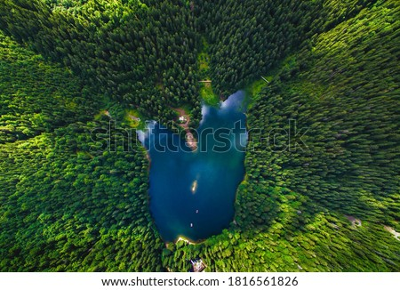 Aerial view of Lake Synevir in the Carpathian Mountains in Ukraine. Synevyr National Nature Park, Carpathians, Ukraine.   #1816561826