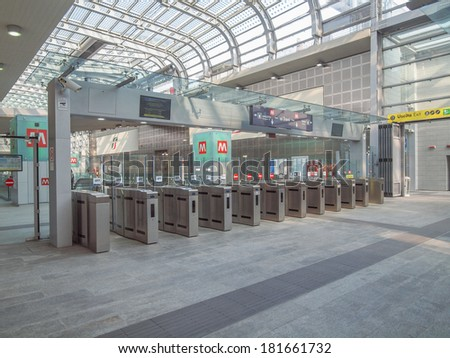 TURIN, ITALY - MARCH 11, 2014: Passengers in the new Torino Porta Susa main railway and subway station #181661732