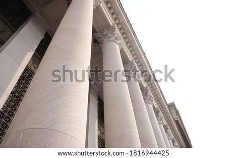 United States Courthouse. U.S. Courthouse Classical Styled Building Structure. Court Columns Downtown. Royalty-Free Stock Photo #1816944425