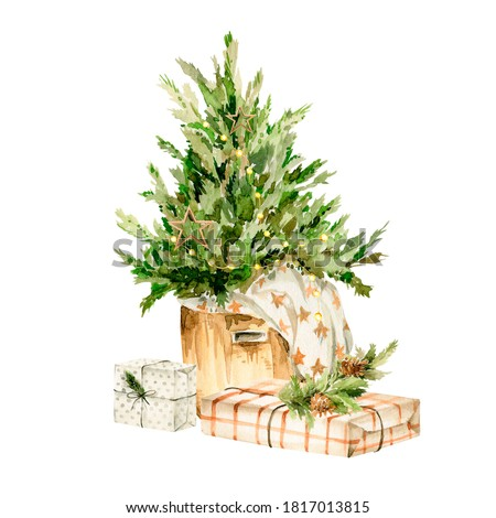 Watercolor Christmas Clipart. Hand painted new year box of gifts,  presents, christmas tree. Merry christmas. Vintage illustration for design, print or background