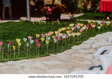 Beautifully decorated yard. Garden decoration for a summer party