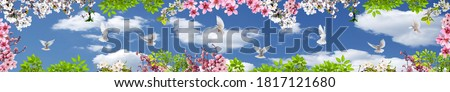 Spring flowers and doves in panoramic sky view