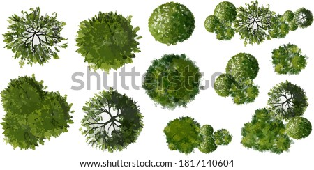 Set of abstract watercolor green tree top view isolated on white background for landscape plan and architecture layout drawing,elements for environment and garden Royalty-Free Stock Photo #1817140604