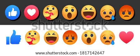 High quality vector round yellow cartoon bubble emoticons social media Facebook chat comment reactions, icons template face tear, smile, sad, love, like, Lol, laughter emoji character message #1817142647