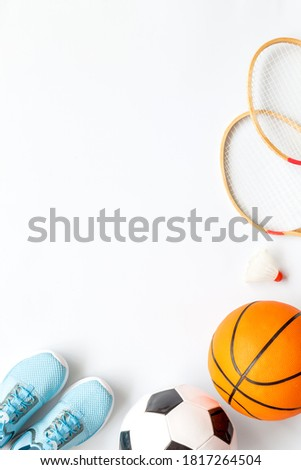 Set of sport games balls and equipment on white baclground. Top view copy space Royalty-Free Stock Photo #1817264504