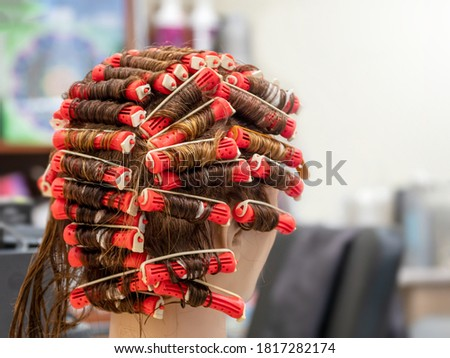 Perm training on a mannequin at the school of hairdressing. Royalty-Free Stock Photo #1817282174