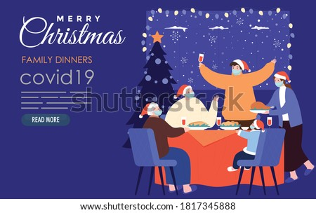 family dinner at christmas time with surgical mask covid19  Royalty-Free Stock Photo #1817345888