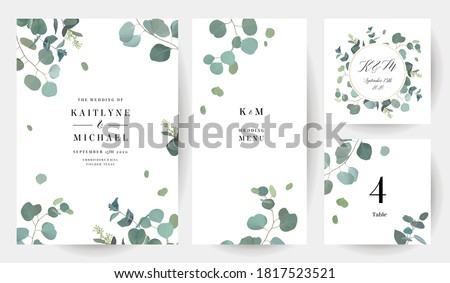 Herbal eucalyptus selection vector frames. Hand painted branches, leaves on white background. Greenery wedding simple minimalist  invitations. Watercolor style cards.Elements are isolated and editable #1817523521