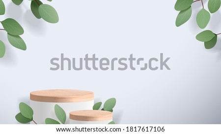 Abstract minimal scene with geometric forms. wood podium in white background with leaves. product presentation, mock up, show cosmetic product display, Podium, stage pedestal or platform. 3d vector #1817617106