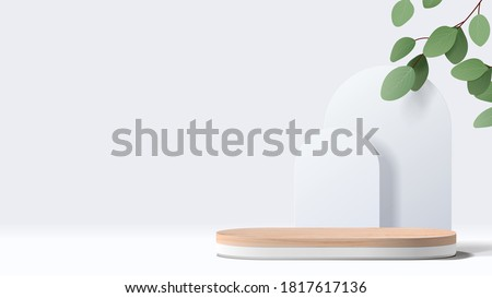 Abstract minimal scene with geometric forms. wood podium in white background with leaves. product presentation, mock up, show cosmetic product display, Podium, stage pedestal or platform. 3d vector #1817617136
