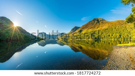 Morning panorama of Buttermere lake in the Lake District. England Royalty-Free Stock Photo #1817724272