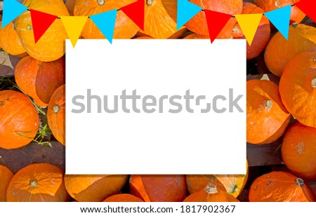 white sheet on pumpkin field, free space for your design, mock up