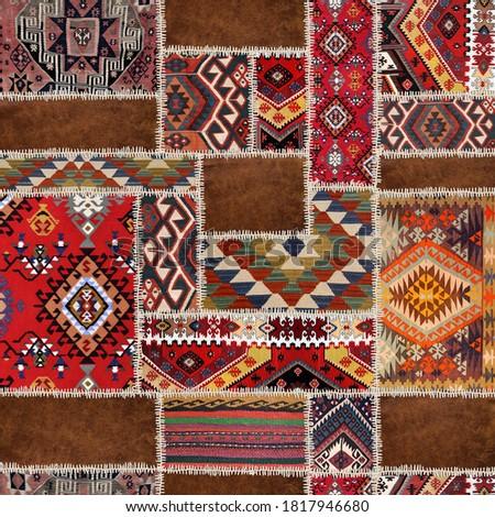 traditional rug patchwork decoratıon carpet Royalty-Free Stock Photo #1817946680