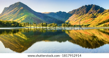 Beautiful morning panorama   of Buttermere lake in the Lake District. England Royalty-Free Stock Photo #1817952914