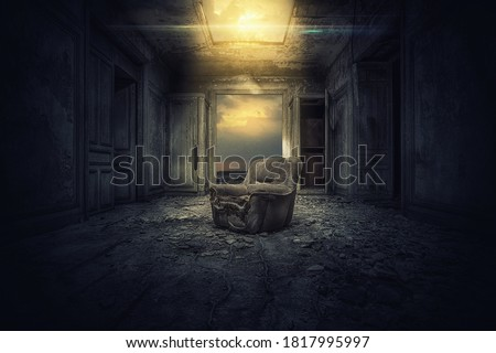 Dramatic Old Room Texture Background with old Chair horror  Royalty-Free Stock Photo #1817995997