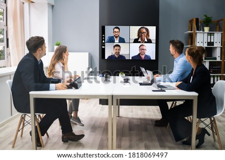 Online Video Conference Social Distancing Webinar Business Meeting Royalty-Free Stock Photo #1818069497