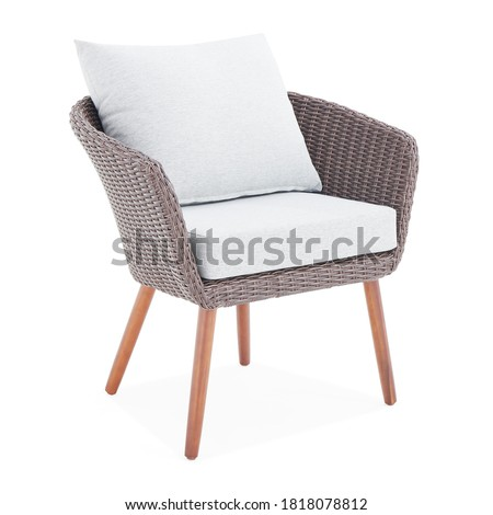 Brown Wicker Chairs with Cushions Isolated on White Background. All-Weather Outdoor Weave Rattan Loveseat. Outdoor Armchair. Dining Loose Back Chair with Fabric Cushion Seat. Patio Furniture #1818078812