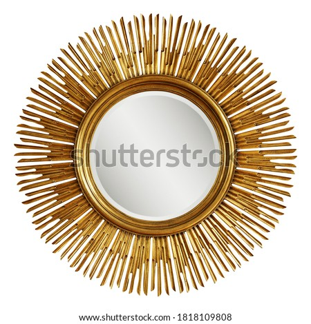 Golden Beveled Round Wall Mirror in a Sun-Ray Frame Isolated. Decorative Gold Sun Vintage Art Deco Mirror for Living Room & Bedrooms. Eye-Catching Wall Mounted Classic Circular Mirror. Interior Design #1818109808