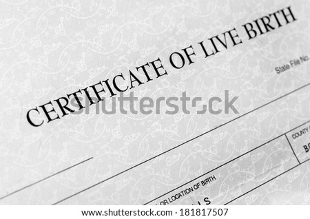 Closeup detail of birth certificate form to be filled out when baby is born #181817507