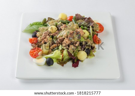 Fresh Salad Nicoise, white background #1818215777