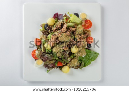 Fresh Salad Nicoise, white background #1818215786