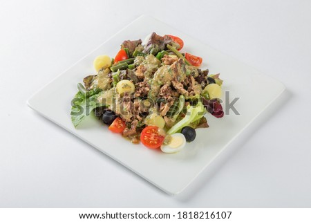 Fresh Salad Nicoise, white background #1818216107