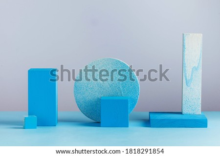 Geometric blue shapes. Abstract shapes. Empty podiums for your product. Minimalism. Copy space. Royalty-Free Stock Photo #1818291854