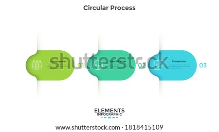 Three colorful rounded elements. Concept of 3 successive steps of business project development process. Minimal infographic design template. Modern flat vector illustration for data visualization. Royalty-Free Stock Photo #1818415109