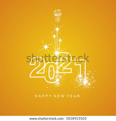 Happy New Year 2021 firework white line design numbers orange yellow background #1818453503