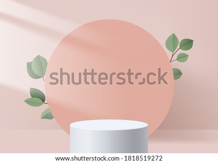Background vector 3d pink scene rendering with podium and minimal pink valentine scene platform, stage background 3d rendering abstract love pink pastel platform. scene 3d for show product cosmetic #1818519272