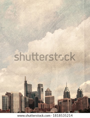 Philadelphia art skyline with texture