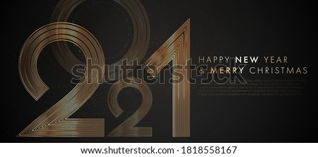 Happy new 2021 year! Luxury elegant gold design template for minimalistic holiday invitations. Eps10 vector illustration #1818558167