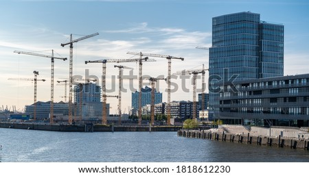 Construction site in the district Hafencity of Hamburg, Germany. Royalty-Free Stock Photo #1818612230