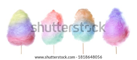 Set of tasty cotton candies on white background Royalty-Free Stock Photo #1818648056