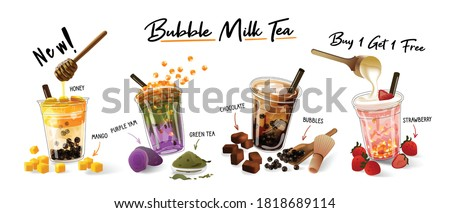 Bubble milk tea Special Promotions design, Boba milk tea, Pearl milk tea , Yummy drinks, coffees and soft drinks with logo and doodle style advertisement banner. Vector illustration. #1818689114