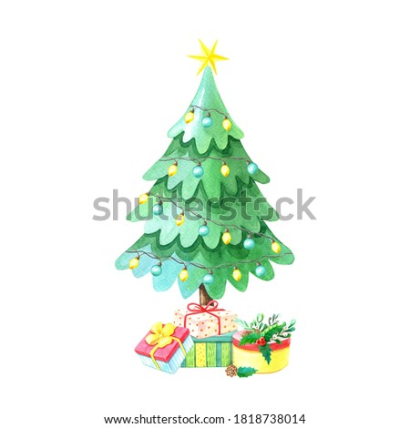 Watercolor Christmas tree with gift boxes.Winter cartoon Illustration for the New year.Watercolour Decorative floral element on white background.