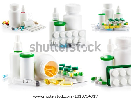 Collage mix of preparation in pill and capsule isolated on white background. #1818754919