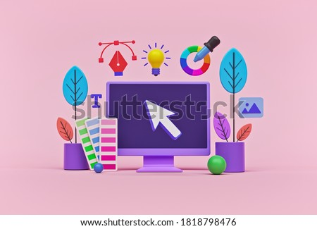 concept of modern graphic design process. icons of graphic designer items and tools. 3d rendering