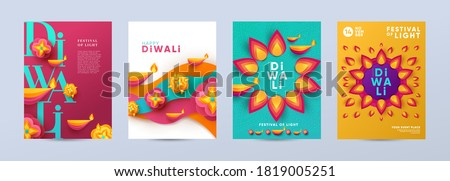 Happy Diwali Hindu festival modern design set in paper cut style with oil lamps on colorful waves and beautiful flowers of lights. Holiday background for branding, card, banner, cover, flyer or poster #1819005251