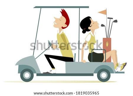 Man and woman ride on the golf cart car illustration. Smiling man and pretty young woman is going to play golf in the golf cart car isolated on white