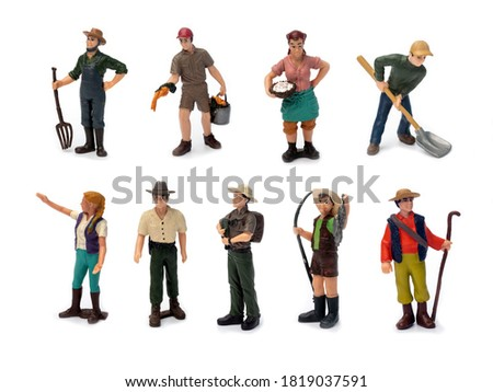 Set of miniature people worker, explorer ,farmer and travel concept in variety action isolated on white background.
