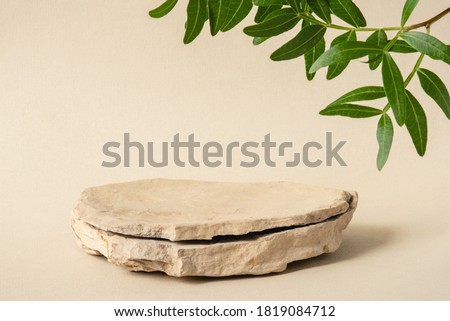 Background for cosmetic products of natural beige color. Stone podium with green leaves. Front view. #1819084712