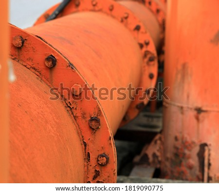 Rust of metals. Corrosion of metal. Rust and corrosion in the weld. Corrosive Rust on old iron, grunge rust texture, Rush on orange metal pipe, nut and bolt.  #1819090775