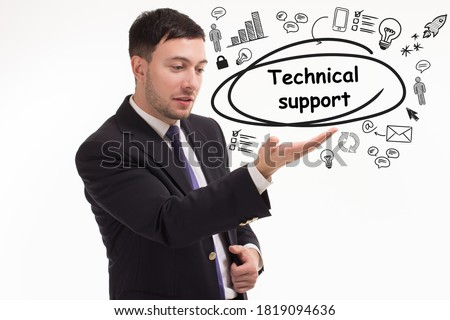 Business, technology, internet and network concept. Young businessman thinks over the steps for successful growth: Technical support #1819094636