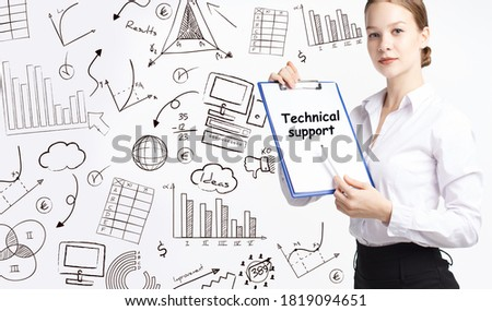 Business, technology, internet and network concept. Young businessman thinks over the steps for successful growth: Technical support #1819094651